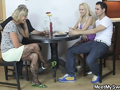 Blonde cooky have fun fucking up old parents of her BF